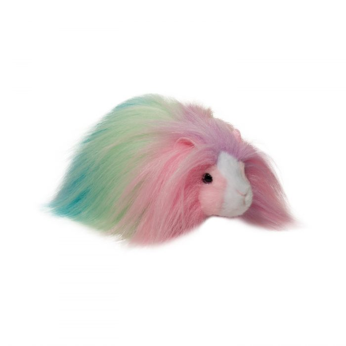 Rainbow long haired guinea pig stuffed animal.