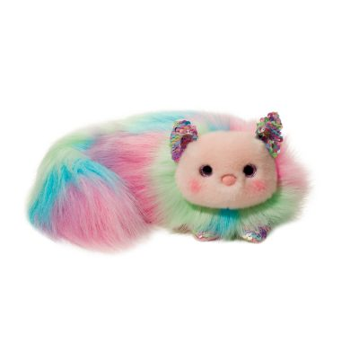 Rainbow stuffed animal cat with sequence details.