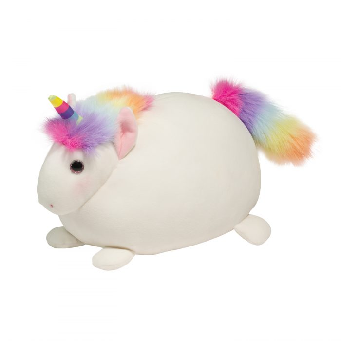 squishy white unicorn with rainbow tail and mane!