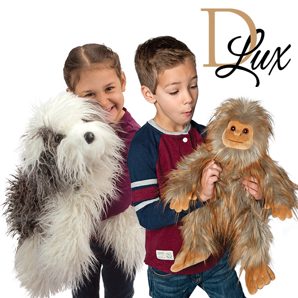 Dlux stuffed sheepdog and Sasquatch stuffed animal