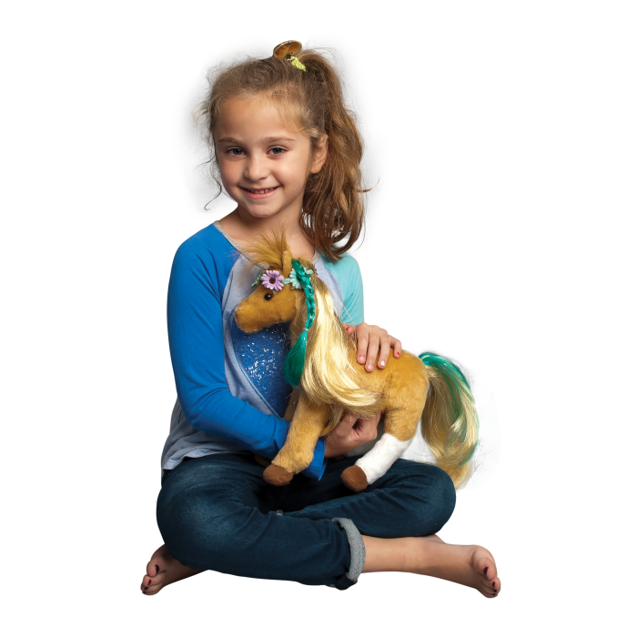 brown stuffed animal horse with brushable hair