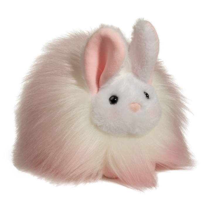 light pink buffy bunny with pink tipped white fluffy fur stuffed animal