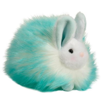 aqua and white fluffy bunny stuffed animal for easter
