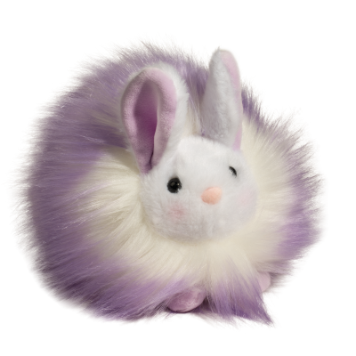 purple tippled white fluffy easter bunny stuffed animal