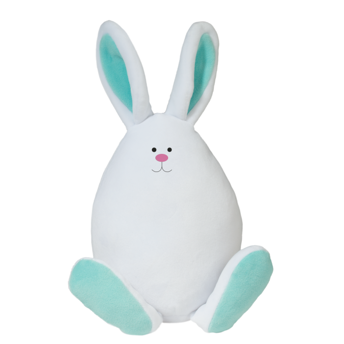 whimsical white and aqua squishy bunny egg stuffed animal