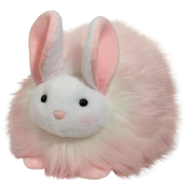 large puff bunny stuffed animal in pink and white fur