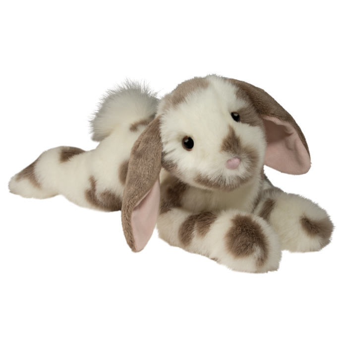 ultra soft and floppy with deluxe materials. brown and cream spotted stuffed animal bunny.