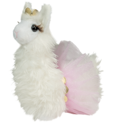 cute white fluffy llama stuffed animal in tutu
