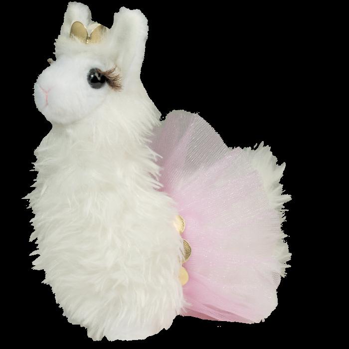 cute white fluffy llama stuffed animal in tutu