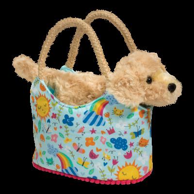 sweet golden retriever dog in designer tote bag for kids