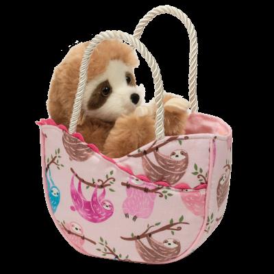 sloth stuffed animal in sweet tote bag for kids