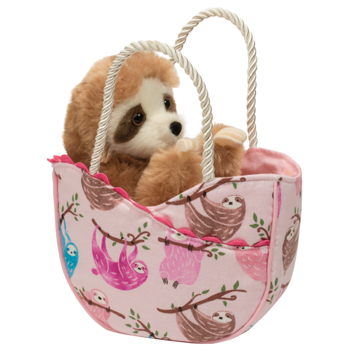 sloth stuffed animal in sweet tote bag for kids