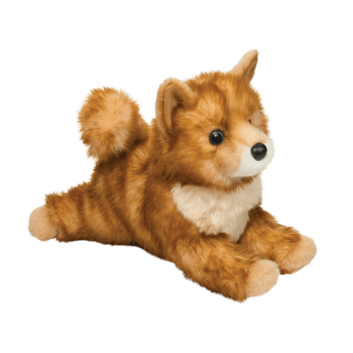 Red Pomsky stuffed animal dog is soft and floppy!