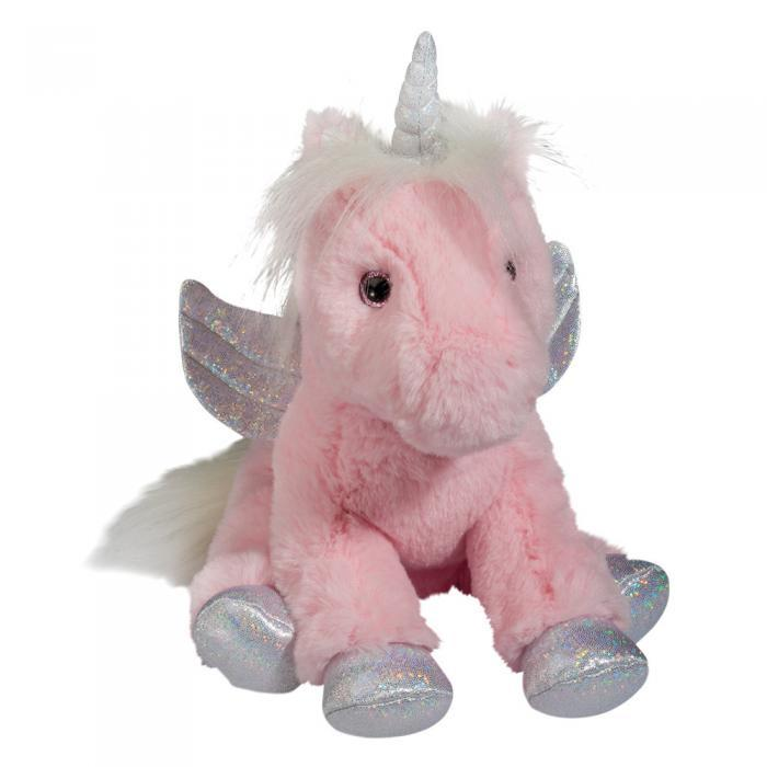 soft pink unicorn stuffed animal with wings