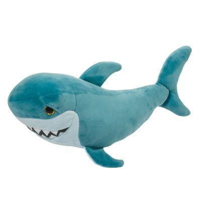 Stuffed animal shark for kids! Stretchy and squishy teal material with teeth!