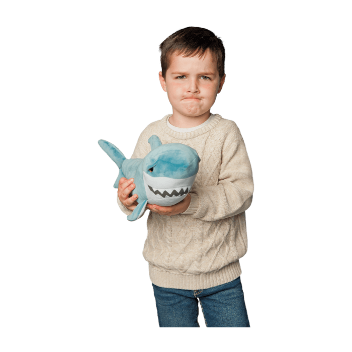 squishy blue shark stuffed animal with whimsical face