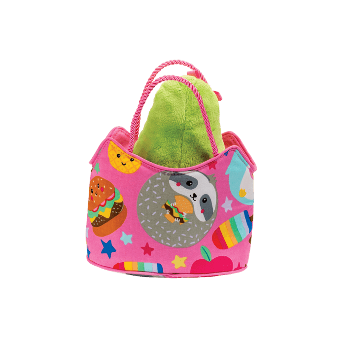 avocado cat plush toy inside a designer tote bag!