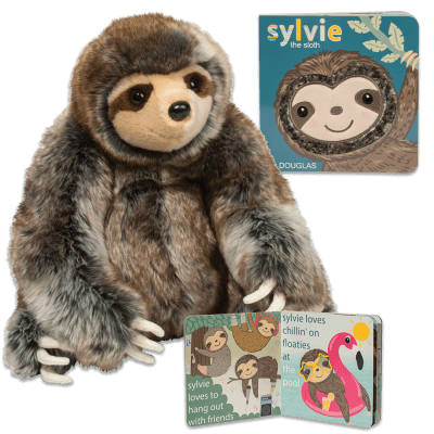 Stuffed animal sloth and matching toddler sloth book!