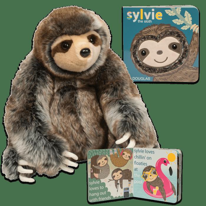 Stuffed animal sloth and matching toddler sloth book!