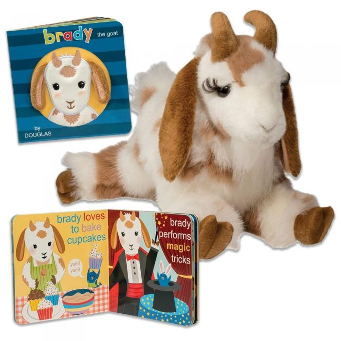 Brady the stuffed animal spotted floppy goat and board book!