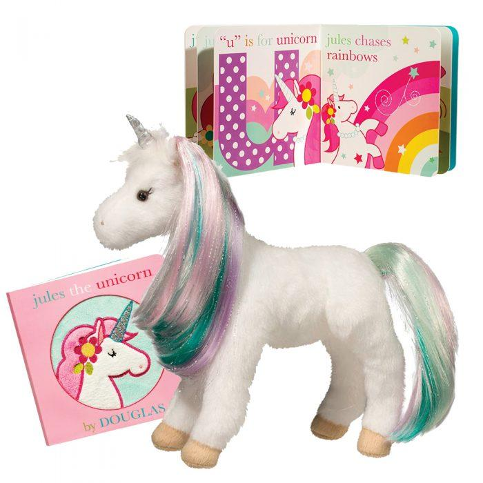 Rainbow unicorn stuffed animal with brushable hair and coordinating board book!