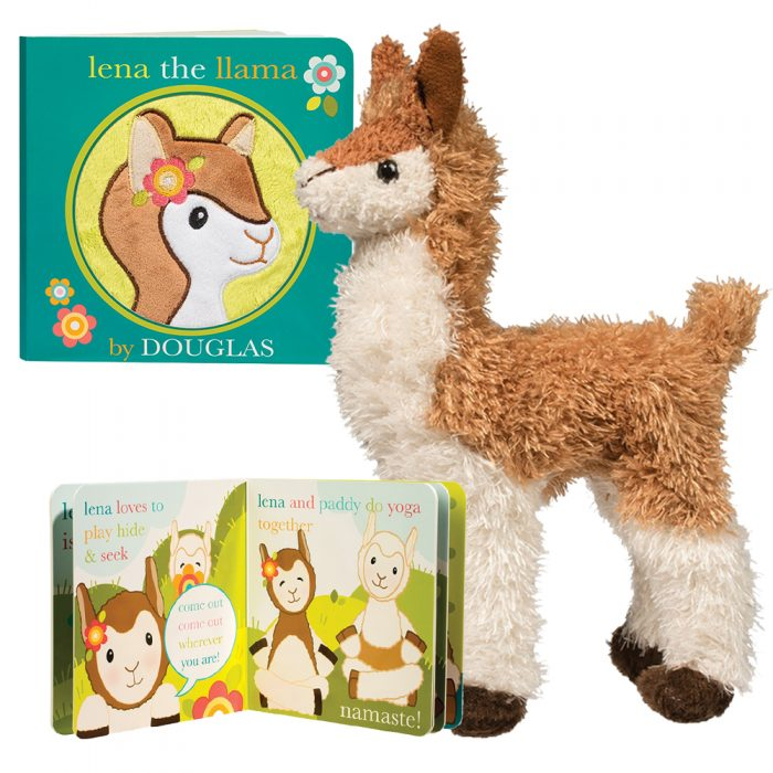 Lena stuffed animal llama and her coordinating board book!