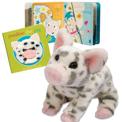 Spotted pig stuffed animal with toddler board book!