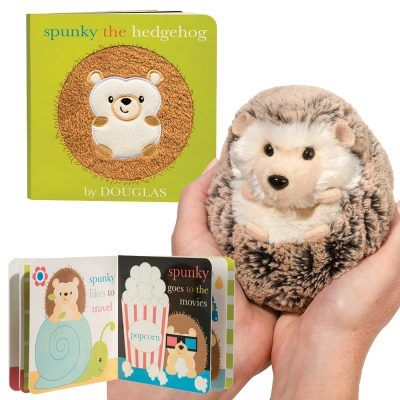 Hedgehog stuffed animal fits in your hand with coordinating board book!